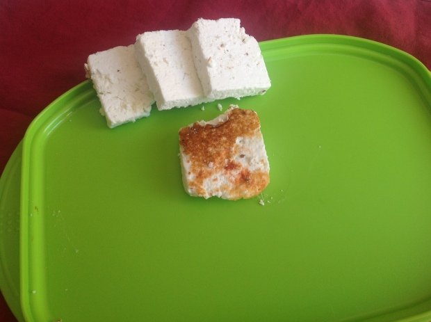 "This was my chèvre fail, it was so dry I pressed the curd.It came out like a ""Farmer's Cheese"" and was good fried."