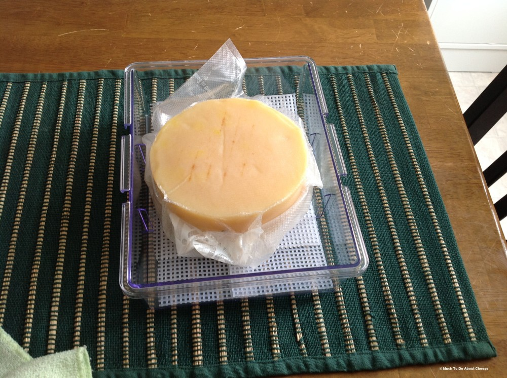 Then you place your cheese into the box, on the mat.  (Note: demo cheese is vacuum sealed as it is in long term ageing. Your cheese would not be vacuum sealed)