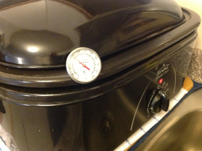 Now you can plug in the roaster, put the lid on (it can hold the thermometer in place) and turn on the roaster.