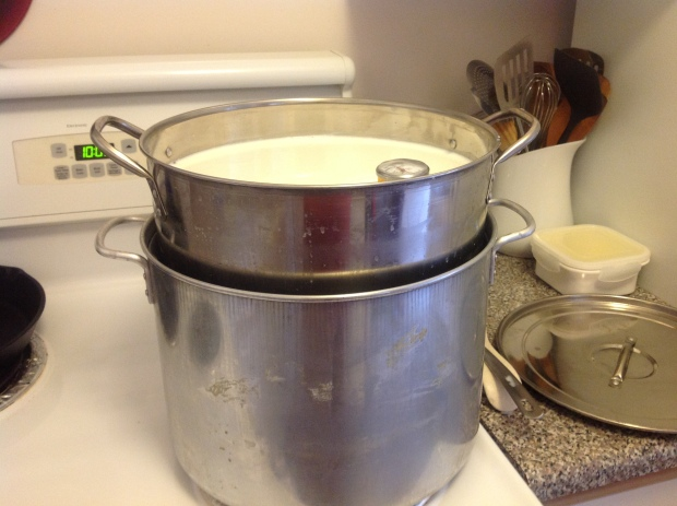 I then put my stainless steel pot into the other pot.  I have enough room to pour water between the two pots to fill