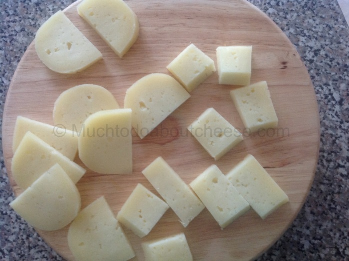 I cut them into various sizes to accommodate everyones preferences in cheese size.