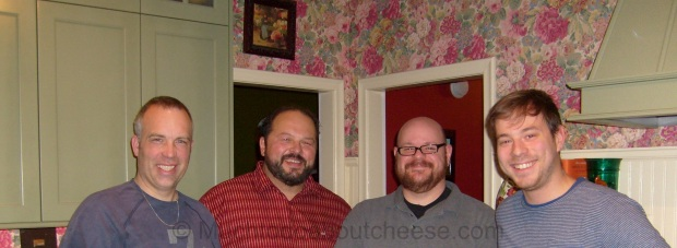 The League of YEG Home Cheese Makers L-R: Larry, Rick, Ian, Jonatan Missing: Addie, Debra, Valerie.