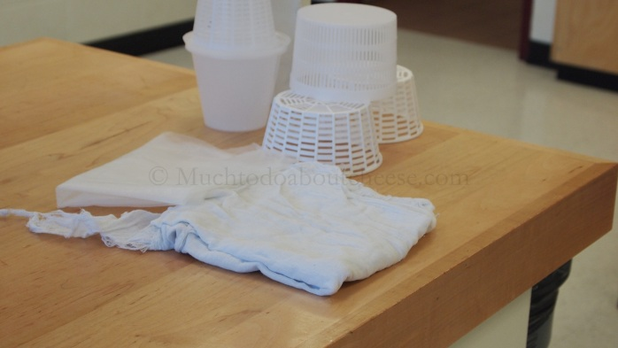 I also set up a display of some commercial moulds and some examples of cheesecloths, on the instructor's table.