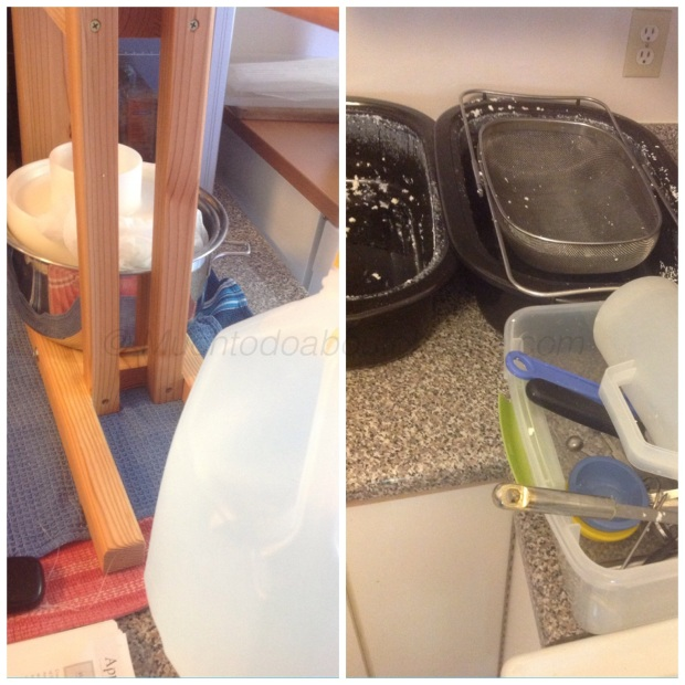 I pressed with the mould in a pot and started on cleaning up my mess.