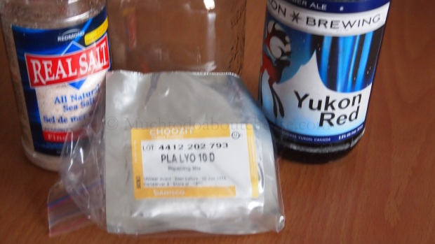 On day 3 I prepared the mix of Salt, PLA and Yukon Brewery's Yukon Red (an amber ale)