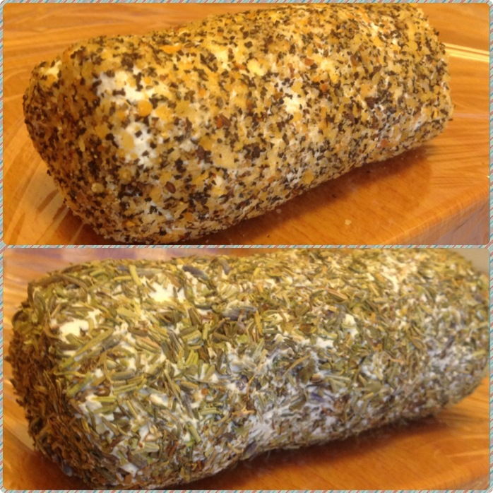The top log is coated with Montreal Steak Spice and the bottom is coated with Herbs de Province.