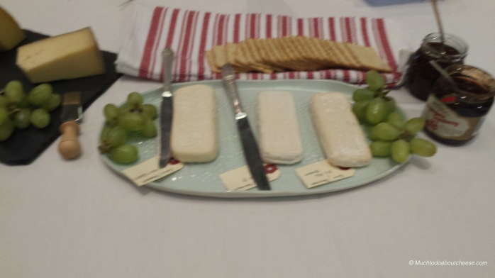 Corinne made these 3 versions of the same cheese.  All with Aroma B and different mold cultures.  The centre one is Goat Milk.