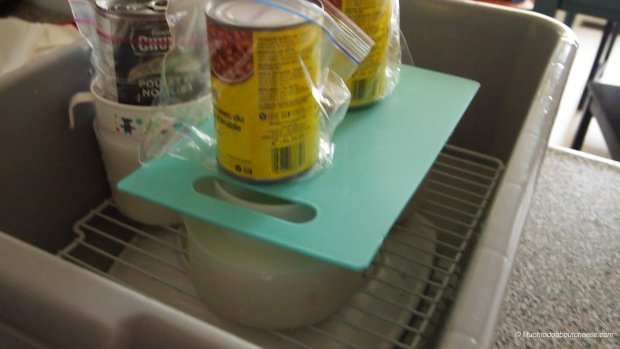 I have a new bus tub that I use for draining and light pressing.  Who says you can't use beans with cheese?