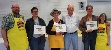 From left: Ian Treuer, Judge; Elis Ziegler, Best Fresh Cheese; Doreen and Pete Sullivan, Best Bloomy Rind Cheese; and Suzanne Lavoie, Best Blue Cheese. Missing John Michael Symmonds, Best Firm Cheese, and Mira Schenkel, Best Washed Rind Cheese and Best of Show. All photos by Jane Churchill. Click on any image for an enlarged view.