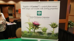 The sign on the Table Top Display for the Enzyme Development Corporation
